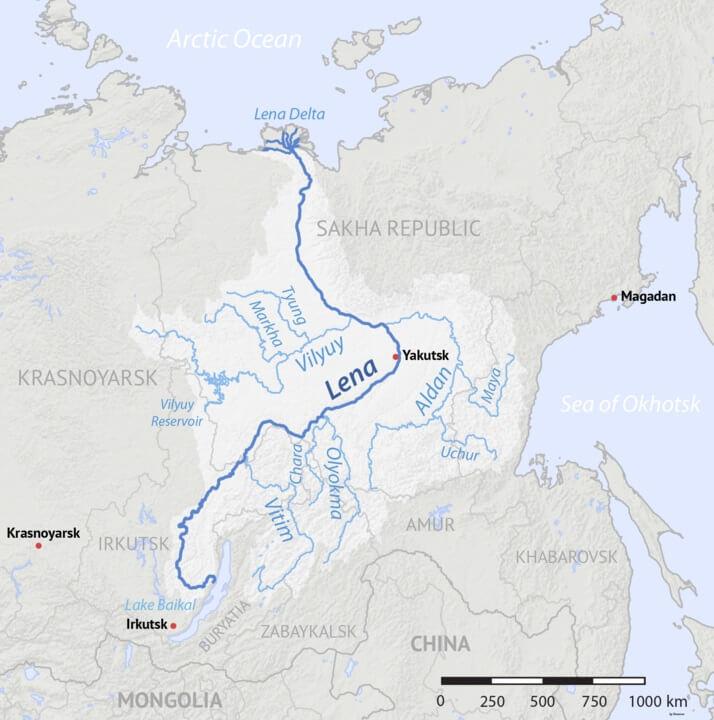 Rio Lena: características, boca, poluição 2