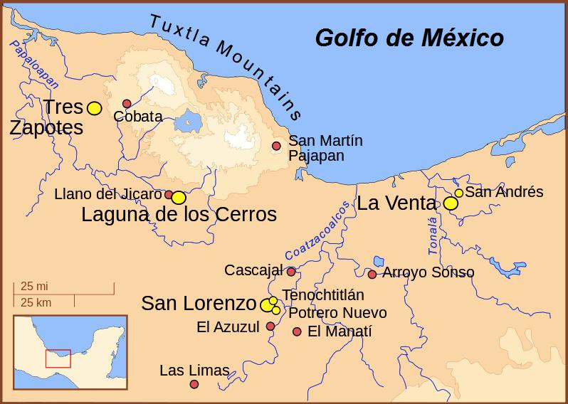 Localização geográfica dos olmecas: características 1