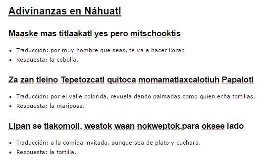35 enigmas em Nahuatl Traduzido para espanhol