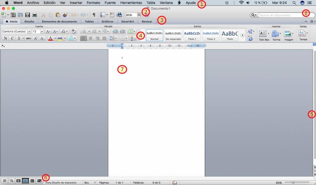 Quais são os elementos da janela do Word? 1