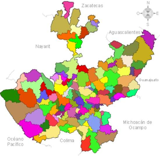 Qual é a forma e o tamanho do estado de Jalisco? 1