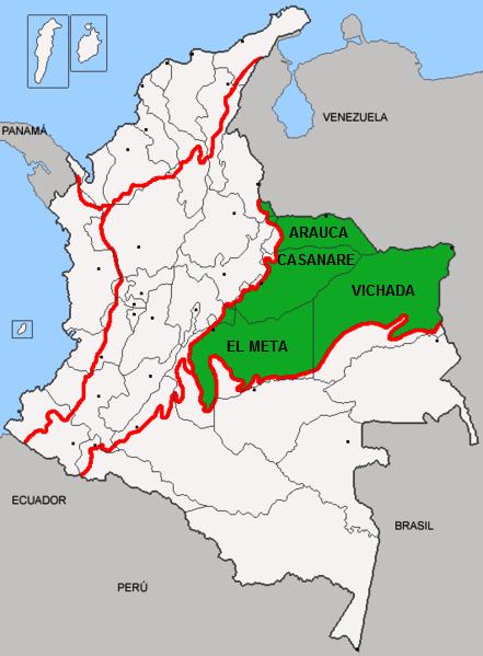 Quais são os departamentos da região de Orinoquía? 1