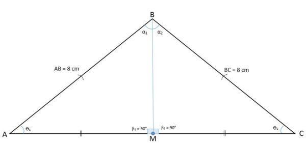 Triângulo isósceles: características, fórmula e área, cálculo 3