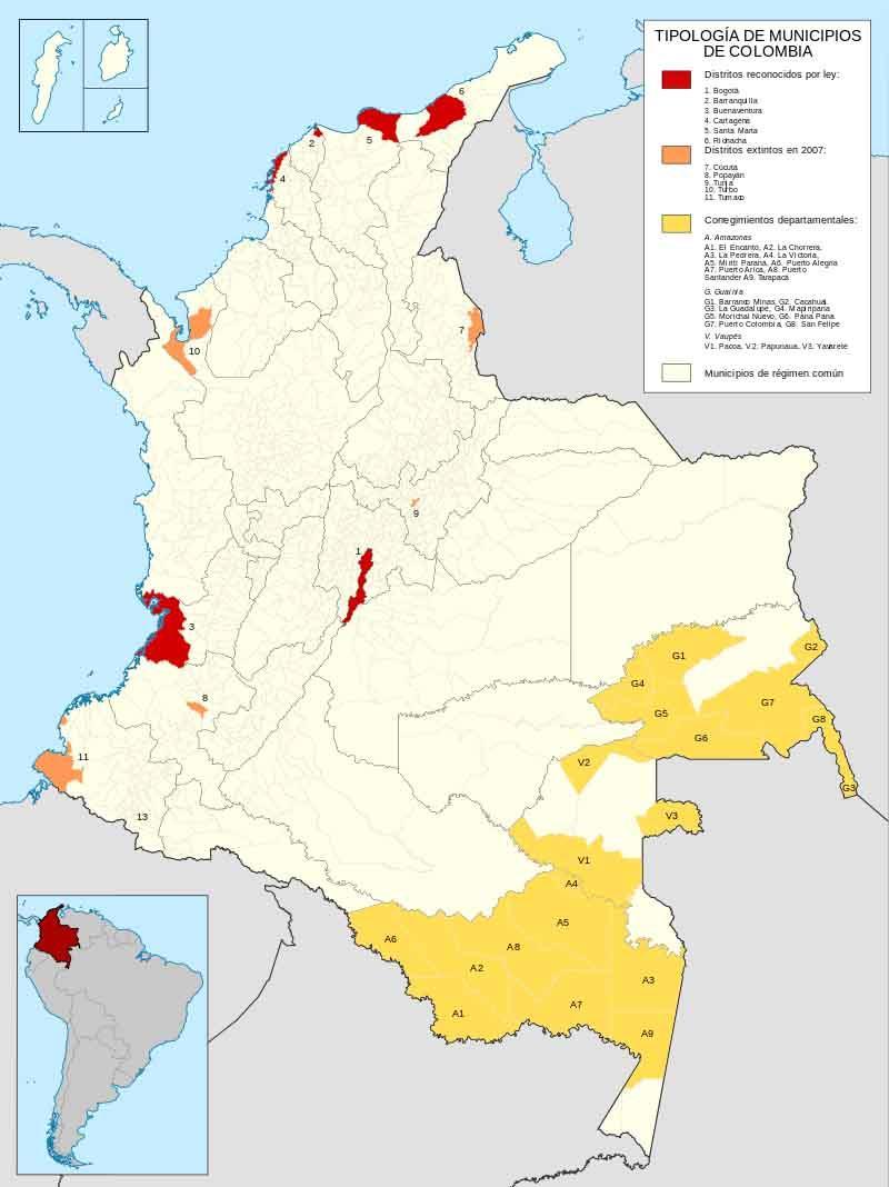 Quais são os distritos da Colômbia? 1