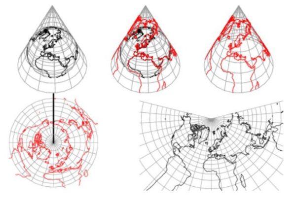 Projeção cartográfica cônica: características, vantagens, desvantagens 1